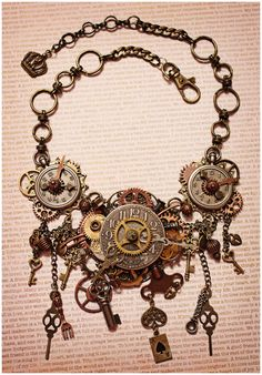 Steampunk Necklace Steampunk Jewelry Clock by AngelaVenableArt
