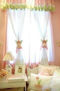 12 Unique Way Of Window Treatments Cute Curtains, Drapes Curtains, Valance, Window Coverings, Window Treatments, Pink Geranium, Window Styles, Curtain Tie Backs, Curtain Designs