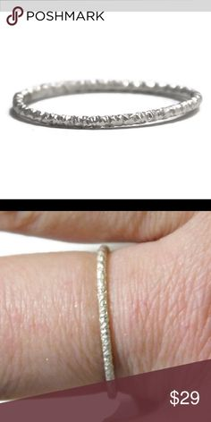 ✨ 925 glitter ring A brand new solid 925 sterling silver glitter-diamond cut stackable stacking ring in any size 2-13. new england jewelry designs Jewelry Rings