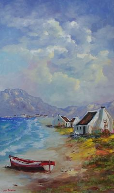 Art Painting by Louis Pretorius includes Red Boat, this example of Seascapes has inspired this exceptionally talented artist. View other Paintings by Louis Pretorius in our Online Art Gallery. Fantasy Landscape, Landscape Art, Landscape Paintings, Gouche Painting, Fishermans Cottage, African Art Paintings, South African Artists, Boat Painting, Beach Art