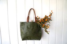 Large Leather Carry All // Market Tote // Travel Tote by MStreetStudio Great for a gym bag or diaper bag.  Matte Green Leather Bag // Spring Accessory