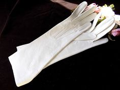 FOWNES Doeskin Midlength Gloves Made in England in White Size 7 for Bride/Formal by EyeSpyGoods on Etsy
