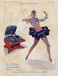 Josephine Baker in advertisement by Henri Fournier, La Vie Parisienne (1930)