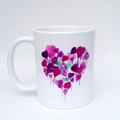 Purple Hearts Mug - Handmade Art, Watercolour Artist Mug. Heart Mug. Balloons. Personalised. Mothers Day Gift. Mug and Card Set. by SueRocheIllustration on Etsy https://www.etsy.com/listing/268076218/purple-hearts-mug-handmade-art