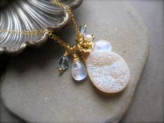 Druzy  Moonstone Blue topaz and Pearl Necklace in by Sylviajewelry, $139.00