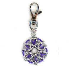 Purple and Silver Dangle Charm, Bag Tag, Purse Charm Chainmaille