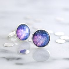Fireworks cufflinks - silver cufflinks featuring a miniature photography print of fireworks exploding in the sky