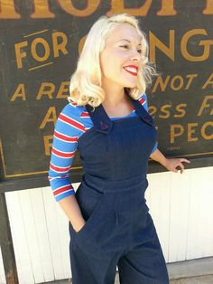 Check out this item in my Etsy shop https://www.etsy.com/listing/156731915/darling-1940s-style-rosie-overalls-s-to
