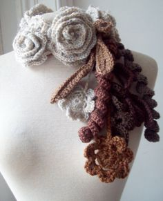 lovely crochet roses necklace scarf scarflette lariat in natural colors