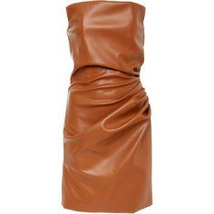 Faux Leather Side Gathered Strapless Mini Dress   Moda Operandi (39.950 RUB) ❤ liked on Polyvore featuring dresses, brown dresses, short dresses, shirred dress, faux leather mini dress and strapless ruched dress