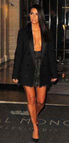 Lanvin Black Blazer Coat, Lanvin Feather Fringe Mini Skirt, Jimmy Choo Anouk Suede Pumps in Black