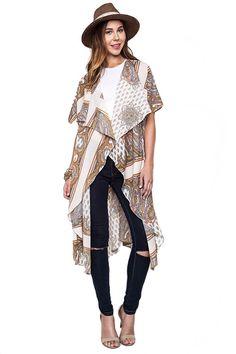 Topanga Paisley Print Kimono - Cream