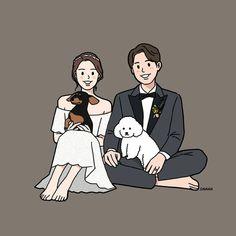 Ideas Drawing Couple Wedding Art For 2019 Cute Couple Drawings, Cute Couple Cartoon, Cute Couple Art, Cute Drawings, Wedding Illustration, Family Illustration, Character Illustration, Cover Wattpad, Cute Couple Wallpaper