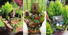 DIY Fairy Gardens From Broken Pots,A new trend in gardening has gardeners creating all sorts of creative garden arrangements and fairy gardens out of...
