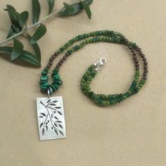 Sterling silver necklace with olive branch and semi precious stone green and brown agate and malachite. by applenamedD, €65.00