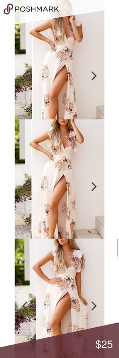 """NWT Mura Boutique """"Peony Love"""" maxi dress small Beautiful and brand new! Size AUS 8- smallDETAILS  This spring brings out the vibrant pink floral tones of the 'Peony Love Dress'. It is a maxi style dress with v-neckline detail, wrap tie up detail and has short sleeves. It's relax fit will make you feel comfortable and cosy this summer!     100% Polyester Cold hand wash Model is wearing size 8 Mura Boutique Dresses Maxi"""