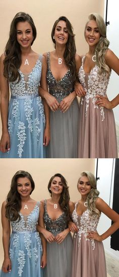 Deep V Neckline Lace Beaded Long Evening Prom Dresses, Popular Cheap Long Custom Party Prom Dresses #prom #dresses #longpromdress #promdress #eveningdress #promdresses #partydresses #2018promdresses #ballgown #eveninggown #promgown