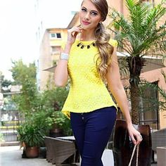 Womens Lace Bodycon Casual Summer Breathe Technology™ Tank Top Yellow