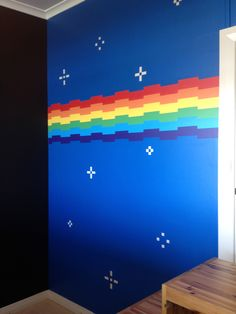 Nyan Cat rainbow and starry sky bedroom mural
