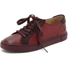 Frye Gemma Low Lace Sneakers ($125) ❤ liked on Polyvore featuring shoes, sneakers, bordeaux, lace up shoes, laced shoes, lacing sneakers, low sneakers and lacy shoes