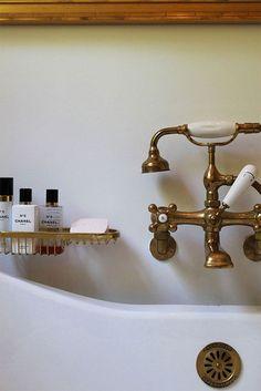 unlacquered brass bath faucet