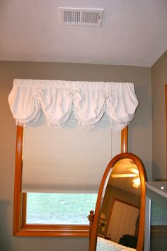 Balloon valance repurposed from vintage chenille bedspread