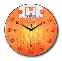 13 Inch Basketball Clock Sports Themed Boys & Girls Room Wall Clocks by bogo #Bogo #Sports