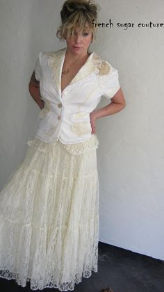 Altered Couture - French Sugar Parisian White Bussel Jacket with Vintage Lace. $115.00, via Etsy.