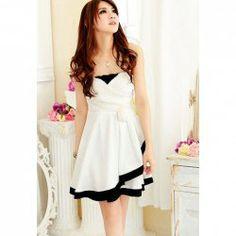 $10.32 Sweet Style Off-The-Shoulder Sleeveless Flower Embellished Color Block Summer Dress For Women