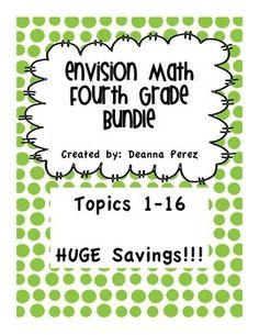 4th Grade enVision Math Bundle - Topics 1 - 16
