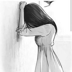 Sadness drawing sadness by on sad drawings easy step by step Broken Drawings, Sad Drawings, Pencil Art Drawings, Art Drawings Sketches, Drawing Faces, Indie Drawings, Drawings With Meaning, Sad Girl Drawing, Manga Girl Sad