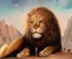 Lion's Den - Do you see the face of #Christ in the mane?  #BiblicalArt #JesusArt