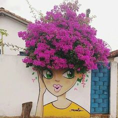 Impressive & Creative Mural Tree Hair Street Art Graffiti Ideas - Home & Garden: Inspiring Interior, Outdoor and DIY Ideas Yard Art, Urbane Kunst, Decoration Originale, Amazing Street Art, Unique Gardens, Street Art Graffiti, Graffiti Artists, Street Artists, Chalk Art