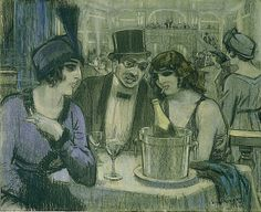 Kees van Dongen (1913) Cafe With Two Women and One Man