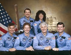 Space Shuttle Discovery STS-41-D crew.  Front, left to right: Richard M. Mullane, Steven A. Hawley, Henry W. Hartsfield, Jr., Michael L. Coats. Back, left to right: Charles D. Walker, Judith A. Resnick. (NASA)