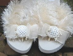 Brides & Wedding Flip Flops ~ Mother of the Bride or Groom will really appreciate the dazzinling comfortable flip flops, in a flat or wedge.