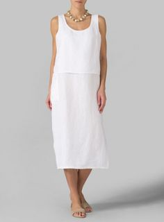 Linen Double Layer Dress With Beaded Short Necklace