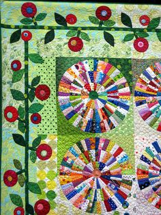 Nice combination of piecing and appliqué. Besides I have always been fond of lollipop flowers.