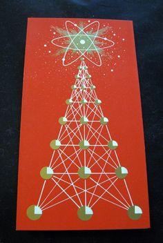 60s Atomic Energy Christmas Tree- Vtg Mid-Century Modern Greeting Card ~Jetsons