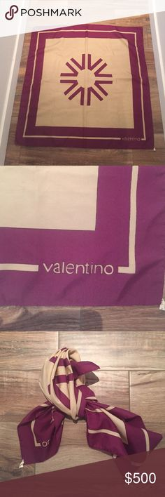 Valentino scarf Authentic vintage polyester Valentino scarf beautiful purple and cream color. 30x30 Valentino Accessories Scarves & Wraps