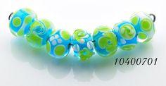 10400701 - Seven Blue w/Green Rondelle Beads