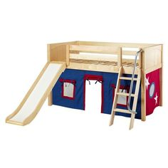 $1,200 - MaxtrixKids | DEN21 NP : Low Loft Bed with Angled Ladder & Curtain and Slide - Loft Beds - DEN21 NP