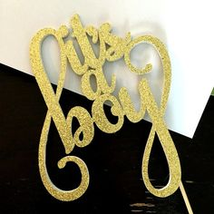 It's a boy cake topper .. gold cake topper .. by Craftandababy