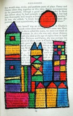 Color theory inspired by Paul Klee - done with sharpies and watercolor on old book pages. Seriously cool.