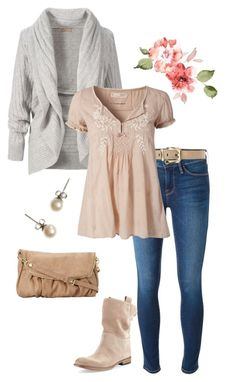 """""""friday romantic chic 2"""" by miss-hummingbird on Polyvore featuring Frame Denim, Linea, Alberto Fermani, J.Crew, Steve Madden, casual, romantic, nude and CasualChic"""