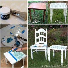 Herringbone Pattern Stencil and Teal Stencil Creme Paint on Side Table Top | Project by Sweet Pea http://www.virginiasweetpea.com/2013/09/stenciled-side-table.html