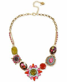 Betsey Johnson Gold-Tone Multi-Color Crystal Pendant Frontal Necklace