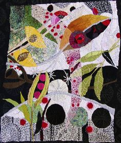 Free form embroidery, silk, linen, hand-dyed cotton thread on West African Cotton Batik Linda Cato.  www.lindacato.net