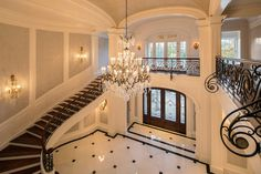 "The incomparable ""Stone Mansion"" estate, located at 18 Frick Drive in Alpine, NJ, has been re-listed yet again. Mansion Bedroom, Mansion Interior, Palacio Imperial, Stone Mansion, Grand Foyer, Modern Mansion, Mansions Homes, Stone Houses, Staircase Design"