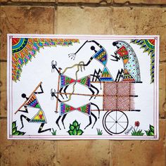 Warli Painting with Madhubani Twist Phad Painting, Worli Painting, Art Painting Gallery, Fabric Painting, Madhubani Art, Madhubani Painting, Om Namah Shivaya, Pottery Painting Designs, African Art Paintings